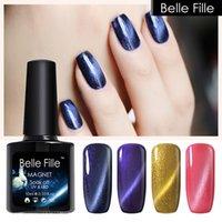 belle nail art - BELLE FILLE ml UV LED Gel Nail Chameleon Cat Eye Gold Line D Metallic Varnish lacquer Manicure Soak off Home paint Nail Art