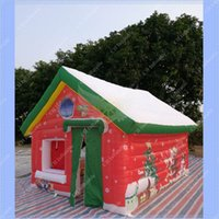 Wholesale Hot Sale Inflatable Santa House with Air Pump Beautiful Digital Paiting Santa Grotto Outdoors Festival Christmas House