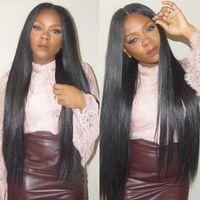 Compra Peluca recta sin cola peruana llena del cordón-Peruvian Remy Hair Glueless pelucas llenas del cordón con los nudos blanqueados Silky pelucas rectas del frente del cordón para las mujeres negras