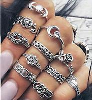 Bohemian antique rose rings - Punk Unisex Knuckle Ring Sets Antique Silver Gold Engraved Totem Leaf Rose Sets Fingernail Rings