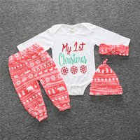 Wholesale 2017 Xmas Ins Set Baby boys girls take home outfit First st My Christmas romper snowflake pants headband hat trees