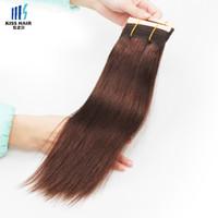 La armadura recta brasileña del pelo 4Pcs empaqueta el color natural 2 4 Brown de la calidad de Remy del pelo humano de la extensión del pelo humano de la rama