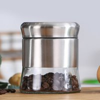 Wholesale Stainless Steel glass Canister Tea Coffee Sugar Nuts Jar Storage Candy Storage Jar Tea Canister spices storage box free shopping