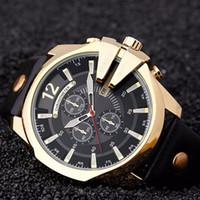 analog units - New fashion personality big dial military men s watch leisure quartz waterproof leather wrist unit