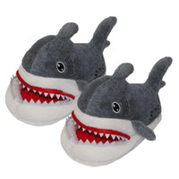 Wholesale New quot cm shark plush slippers Winter warm cartoon D shark with letter SOS slippers shoes C1644