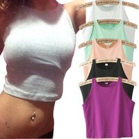 Wholesale 6 Colors Fitness Skinny Crop Top New Women Tight Bustier Crop Top Skinny T Shirt Belly Sports Dance Tops Vest Tank Tops