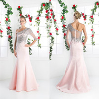 Cheap Charming 2016 Baby Pink One Shoulder Mermaid Prom Dresses Long Cheap Beaded Crystal Half Sleeve Evening Dress Custom Made EN11084