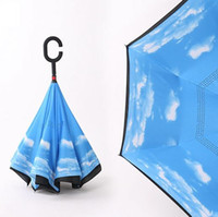 Wholesale Windproof Reverse Folding Double Layer Inverted Chuva Umbrella Self Stand Inside Out Rain Protection C Hook Hands PC h111