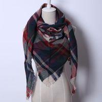 Wholesale 016 Fashion Brand Designer Cashmere Triangle Pink Scarf Winter Women Shawl Pashmina Cape Blanket Plaid Foulard