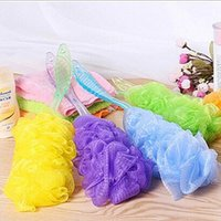 Wholesale 2015 New Candy Colors Mesh Sponge Soft Bath Brush Sponges Scrubbers Plastic Long Handle Body Back Scrubber