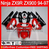 kit de carenado zx9r 1995 al por mayor-8Gifts 23Colors Para KAWASAKI NINJA ZX 9 R ZX9R 94 95 96 97 900CC 49HM8 rojo negro ZX 9R ZX900 ZX900C ZX-9R 1994 1995 1996 1997 Kit de carenado