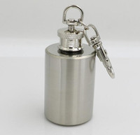 Porte-clés alcool France-New Portable Stainless Steel 1Oz Hip Flasks Drinkware Russian Mini Flask flagon keychain pocket travel Whisky Bouteille pot de vin Alcool Métal