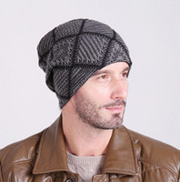 Wholesale Brand New fashion outdoor warm plaid checked knitted hat man velvet skiing hiking climbing running