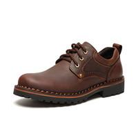 Los hombres hechos a mano de los zapatos oxford España-Marca de zapatos de hombres transpirables de los hombres transpirables de alta calidad zapatos de vestir hombres planos Moda de cuero genuino zapatos de los hombres 38-43