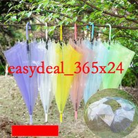 Wholesale 2016 Transparent Umbrellas Clear See Through Colorful Long Handle Umbrellas for Rainproof Wedding Photo Props etc DHL