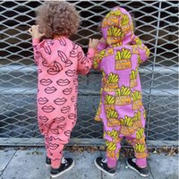Wholesale 2016 Newborn Ins Cotton Jumpsuit Baby french fries Printed hooded Rompers Kids Clothing Autumn Baby Cartoon Heart Rompers