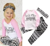 american girl tshirt - 2017 New Boutique Kids Girl Fashion Outfits Suits Newborn Letter Print Tshirt Pants Headband Bodysuits Baby Toddler Clothing Sets