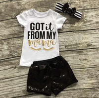 Wholesale kids summer clothes girls boutique clothing sets ins cotton baby sequin headbands letter print t shirts black sequin shorts pants outfit