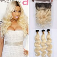 Wholesale Ombre B Brazilian Body Wave Hair Weaves With Pre Plucked Lace Frontal Closure With Bundles Dark Roots Blonde Ombre Virgin Hair