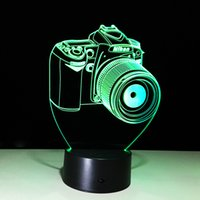 Wholesale 3D Camera Optical Illusion Lamp Night Light DC V USB Powered AA Battery Dropshipping