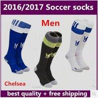 Football Men Polyester NEW 2016 2017 Chelsea white blue sport socks men's Knee High cotton soccer stocking thai quality Thicken Towel Bottom long hose sportswear