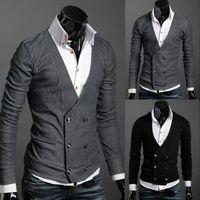Vente en gros- Livraison gratuite Nouveau ArrivalDouble-Breasted Sweater Cardigan V-neck pleine longueur tricoté Fall Tops Vêtements pour hommes Noir Gris