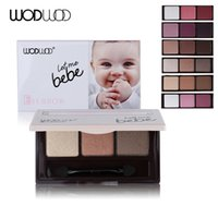 baby eyebrow - Wodwod Eye Makeup Brand Baby Smooth Color Matte Eye Shadow Palette Eyeshadow Glitter Eyebrow Natural Brush Tool with Mirror