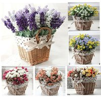 Wholesale rattan square storage basket vase with lavender rose artificial flower home decor wedding decorative flowers