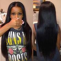achat en gros de cheveux humains perruques naturelles-Vente en gros Silky perruque droite perruque Simulation brésilienne cheveux humains perruque pleine droite perruque couleur naturelle pour les femmes noires