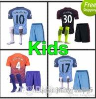 Wholesale 15 new Manchester City kids Jerseys DZEKO KUN AGUERO KOMPANY TOURE YAYA DE BRUYNE Home Away kits Shirt