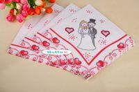 Wholesale packs Wedding napkins bride and groom Color Napkin Paper Virgin Wood napkin