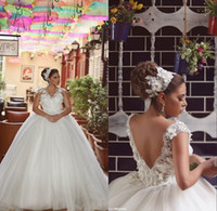Wholesale Ball Gown Wedding Dresses Plus Size Bridal Gowns With V Neck Backless Beads Crystals Cap Sleeve Sweep Train White Tulle Abric