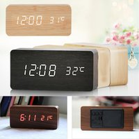 antique ceramic clocks - Pc New Digital LED Wood Desk Alarm Clock Timer Thermometer Snooze Voice Control