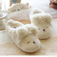 Chaussures Homme Pantuflas Pantofole Donna Mujer Chaussons Femme Accueil Winter Cute Short Peluche Squinting Sheep Chinelo Masculino z