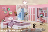 Wholesale Pink MDF Teenage Princess Girl Kids Bedroom Furniture Set with Door Wardrobe Nightstand Bookcase