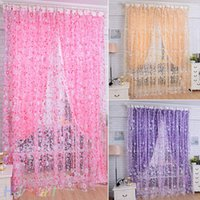 Wholesale New Floral Bedroom Livingroom Windows Scarf Sheer Floral Curtain Panel Voile