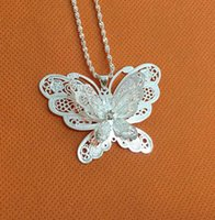 Wholesale New S925 silver hollow out big butterfly necklace pendant hot style of foreign trade selling Christmas present natural beauty grace and a