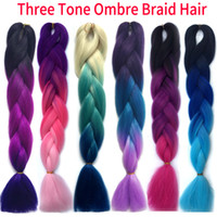 Wholesale Kanekalon Xpression Ombre Braiding hair synthetic Crochet braids twist inch g Ombre two tones Jumbo braid hair extensions colors