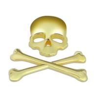 Wholesale 10pcs D M Skull Metal Skeleton Crossbones Car Sticker Label Skull Emblem Badge Metal New Brand