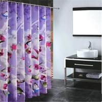 achat en gros de gros orchidée pourpre-Grossiste-rideau de douche en tissu de polyester imperméable Rideaux de salle de bain à la maison Butterfly orchid pourpre bain crutain pour la salle de bains
