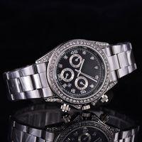 Men's best role - New AAA Dress Men watches Luxury watch Diamonds Calendar Dial Stainless Steel Band Quartz Wristwatches For men role relojes clock Best Gift