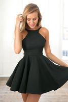 art modes - Simple Little Black Dress Short Cocktail Dresses Sheer Jewel A Line Mini Satin Homecoming Dress Formal Evening Party Gowns Custom Mode