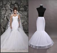 Wholesale Cheap In Stock One Hoop Flounced Mermaid Petticoats Bridal Crinoline For Mermaid Wedding Prom Dresses Wedding Accessories White Color