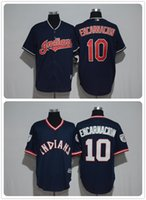 Wholesale 2017 Newest Cheap Edwin Encarnacion Men Jerseys Cleveland Indians Navy blue pullover blue Cool Base Embroidery Jersey Size M XL
