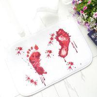 Wholesale Creative Blood Footprints Feet Slip Bath Mats Doormat Bloodstain Bloodstains Carpet Terror for Home Decor Bedroom Mat cm