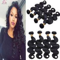 extension remy 26 pouces achat en gros de-Cheap Hair Extensions Brazilian Virgin Human Hair Body Wave 4 Bundles Tracés Remy Cheveux humains Trame 8-28 pouces Natural Black
