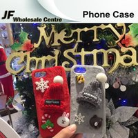 animal skin hats - For iphone plus Cartoon Christmas hat animals Cases TPU rubber Soft with fluff for Iphone s plus plus Protective Shell Skin