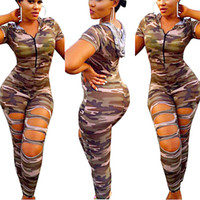 Wholesale Camouflage Holed Bodycon Jumpsuit Women Hooded Front Zipper Short Sleeve Outfit Sexy Club Party Bodycon Bandage Jumpsuits MC021 Free Shippin