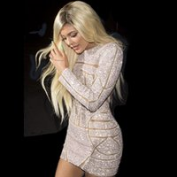beaded shirt patterns - Hot Kylie Jenner Sexy Mini Celebrity Dresses Full Sleeve Pattern Sequins New Short Prom Evening Dresses Backless Sexy Party Gowns Woman