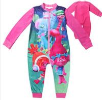 Wholesale cker cartoon trolls Costume fashion T long sleeve cloth Pajamas set nightgowns kid children s spring autumn Sweater clothing